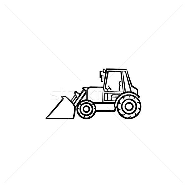 ストックフォト: 掘削機 · 手描き · スケッチ · アイコン · 移動