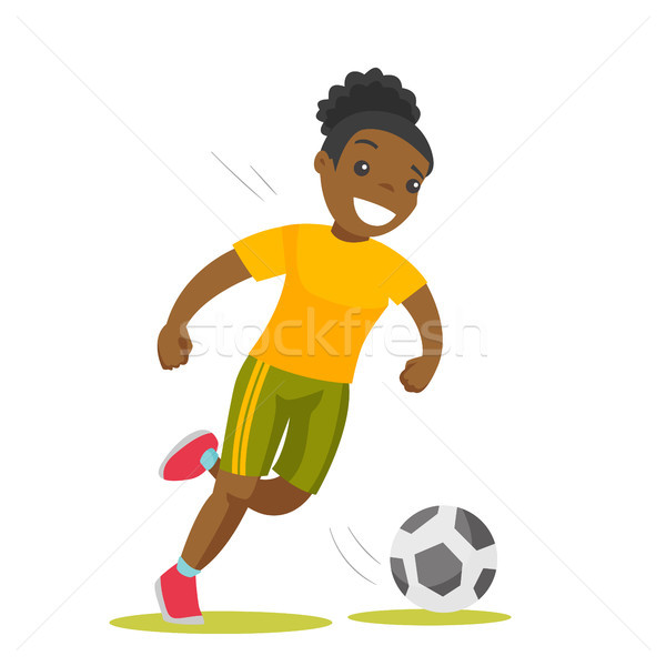 Black soccer player kicking the ball. Stock photo © RAStudio