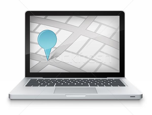 карта ноутбука серый градиент вектора компьютер Сток-фото © RAStudio