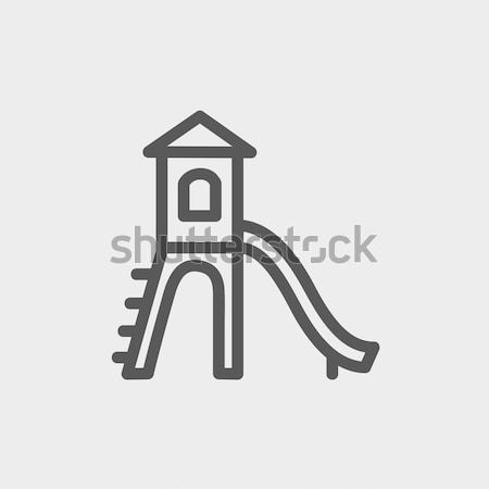 Stock photo: Playhouse with slide thin line icon