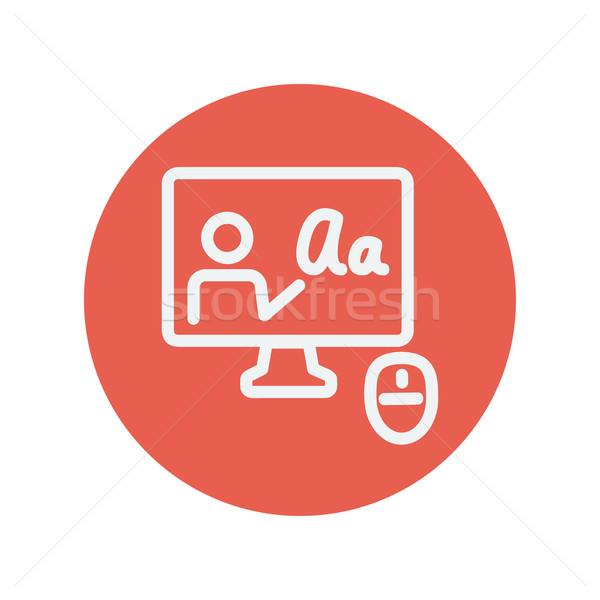 Laptop and mouse in online tutorial thin line icon Stock photo © RAStudio