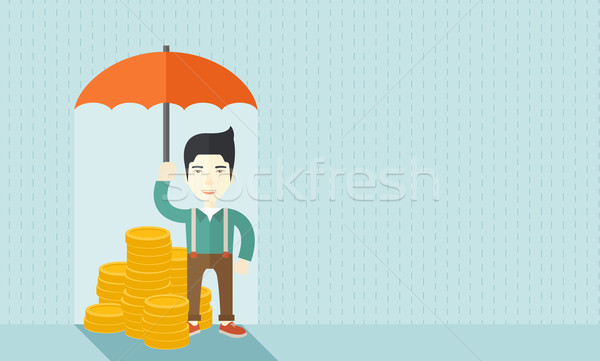 Chinese businessman with umbrella as protection for his investment. Stock photo © RAStudio