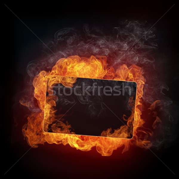 Stockfoto: Brand · geïsoleerd · zwarte · abstract · licht · oranje