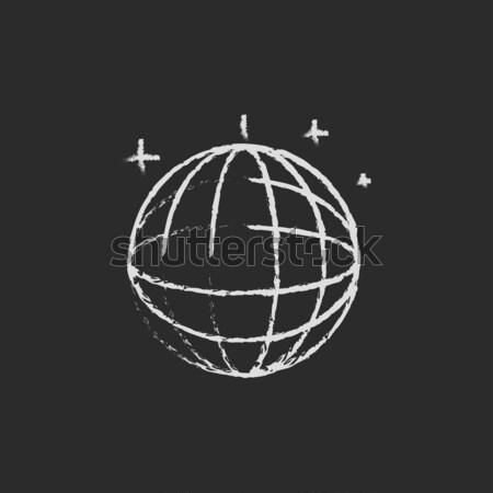 Disco ball icon krijt Blackboard Stockfoto © RAStudio