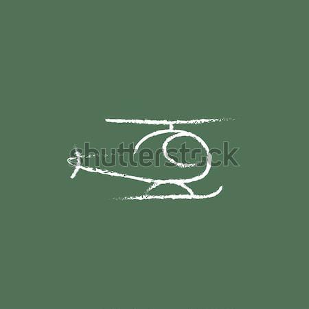 ヘリコプター アイコン チョーク 手描き 黒板 ストックフォト © RAStudio
