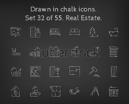 Real estate icon set drawn in chalk. Stock photo © RAStudio