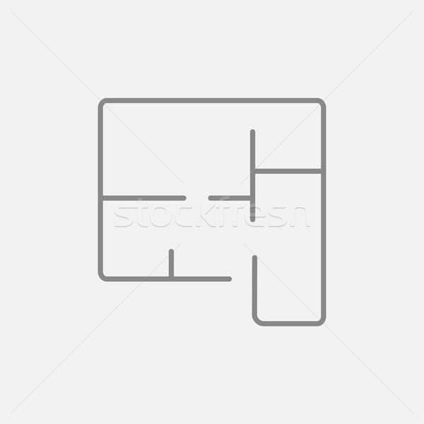 Lay-out huis lijn icon web mobiele Stockfoto © RAStudio