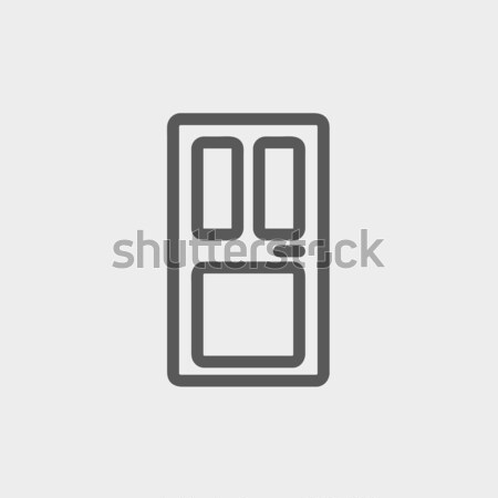 Przednie drzwi line ikona internetowych komórkowych infografiki Zdjęcia stock © RAStudio