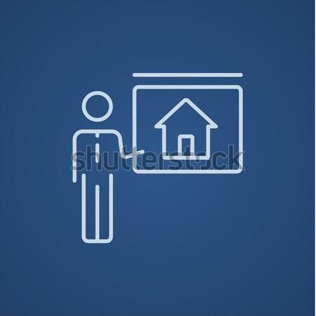 Agent immobilier maison ligne icône web Photo stock © RAStudio