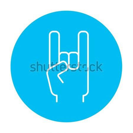 Kaya rulo el işareti hat ikon web Stok fotoğraf © RAStudio