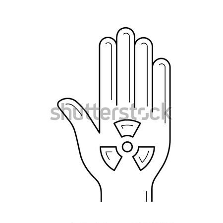 Ionizing radiation sign on a palm line icon. Stock photo © RAStudio