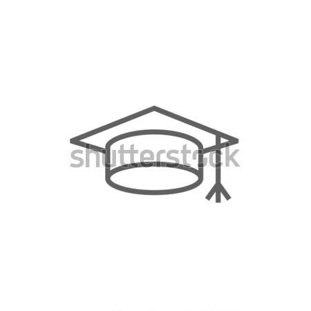 Graduação boné linha ícone teia móvel Foto stock © RAStudio