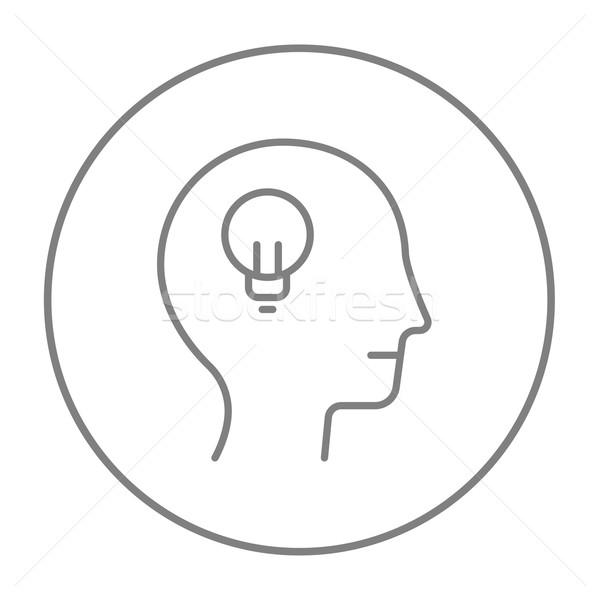 Stock photo: Human head with idea line icon.
