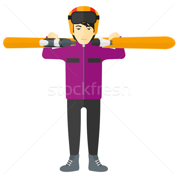 Man holding skis. Stock photo © RAStudio
