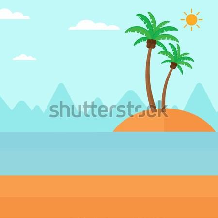 Kicsi trópusi sziget pálmafák óceán vektor terv Stock fotó © RAStudio