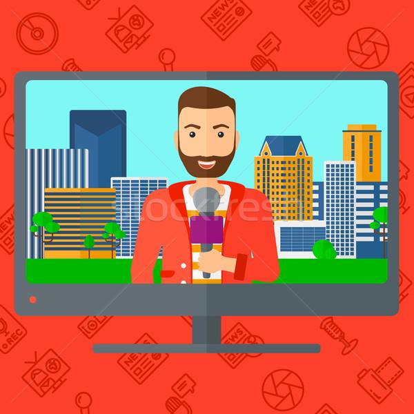 Televizyon ayarlamak yayın görüşme haber Stok fotoğraf © RAStudio