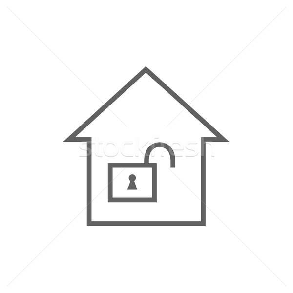 House with open lock line icon. Stock photo © RAStudio
