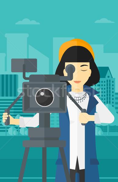 Filmcamera asian naar stad vector Stockfoto © RAStudio