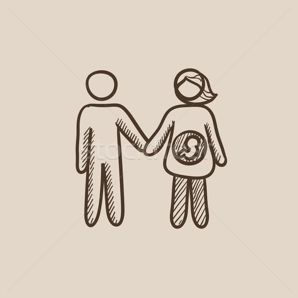 Férj terhes feleség rajz ikon háló Stock fotó © RAStudio