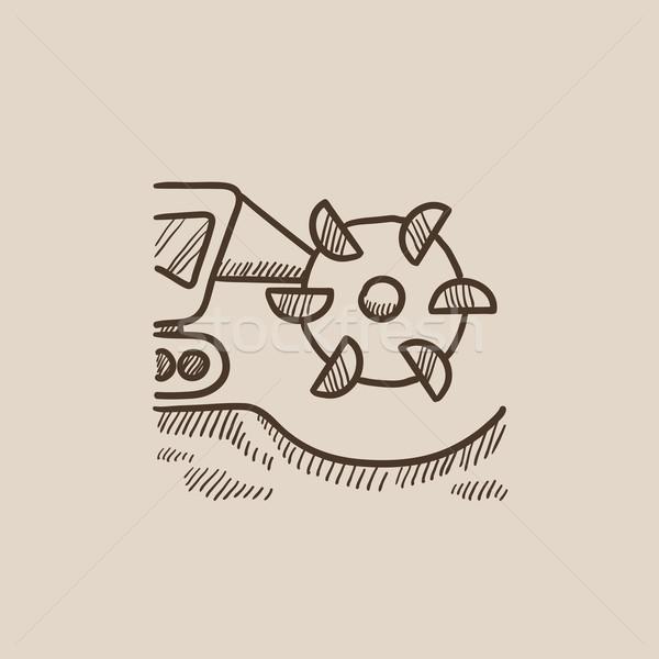 уголь машина барабан эскиз икона Сток-фото © RAStudio