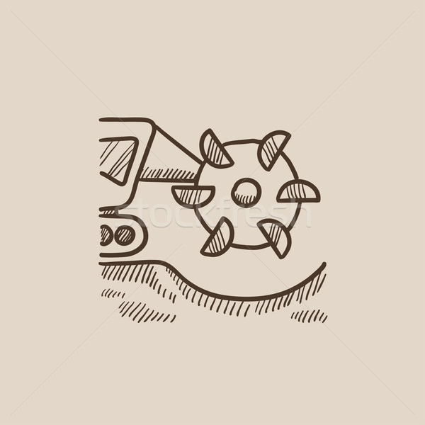 Carbone macchina tamburo sketch icona Foto d'archivio © RAStudio