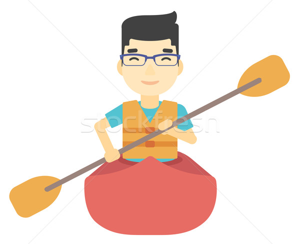 Man riding in canoe. Stock photo © RAStudio