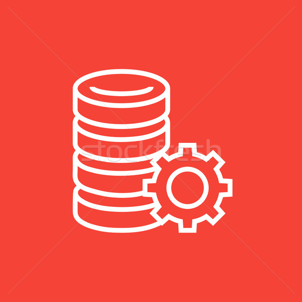 Server with gear line icon. Stock photo © RAStudio