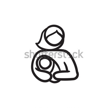Woman nursing baby. Drawn in chalk icon. Stock photo © RAStudio