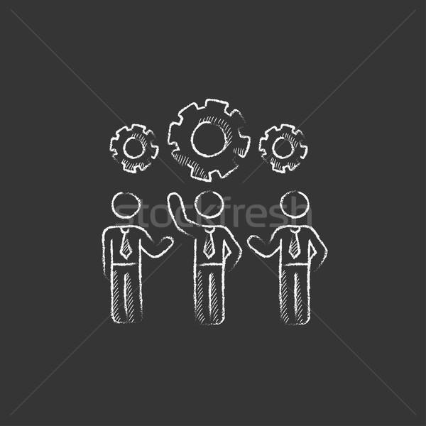 üzletemberek sebességváltó rajzolt kréta ikon áll Stock fotó © RAStudio