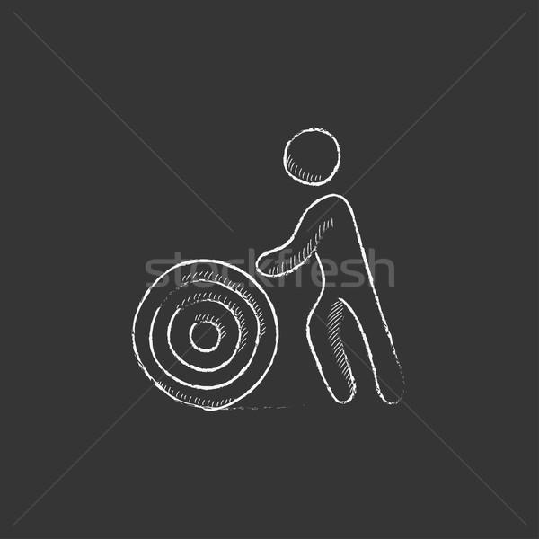 Férfi drót cséve rajzolt kréta ikon Stock fotó © RAStudio