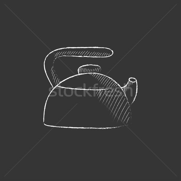 Bogrács rajzolt kréta ikon kézzel rajzolt vektor Stock fotó © RAStudio