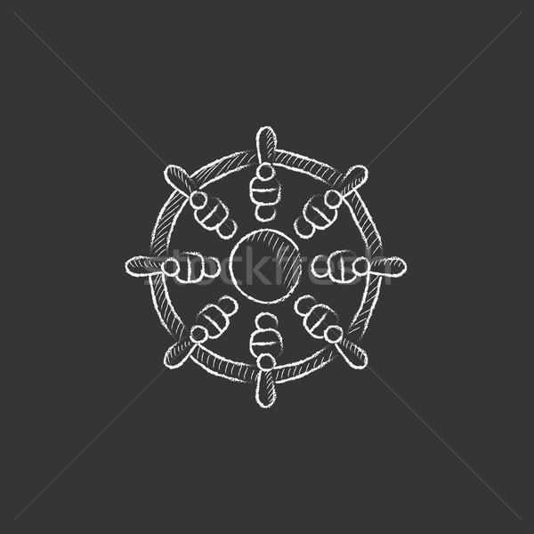 Helm. Drawn in chalk icon. Stock photo © RAStudio