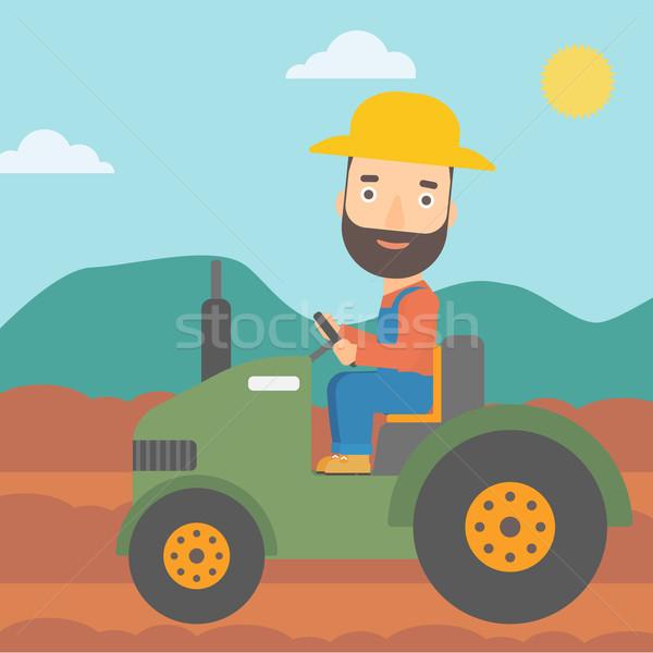 Landbouwer rijden trekker man baard Stockfoto © RAStudio
