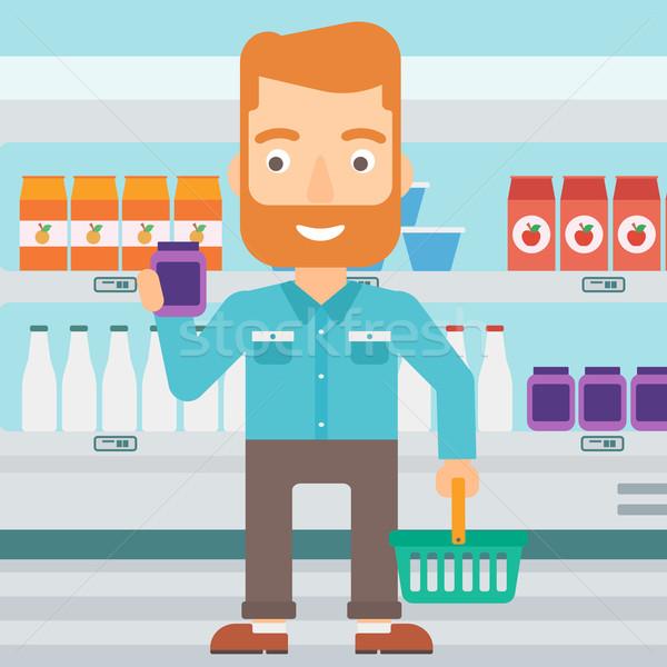 Vásárló bevásárlókosár cső krém hipszter férfi Stock fotó © RAStudio