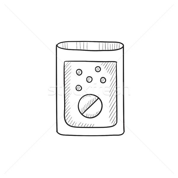 Tablet into glass of water sketch icon. Stock photo © RAStudio