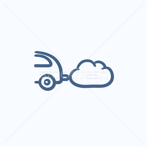 Car spewing polluting exhaust sketch icon. Stock photo © RAStudio