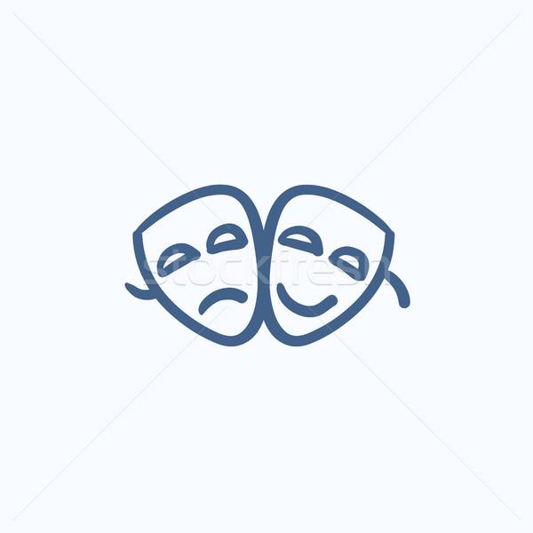 Due teatrale maschere sketch icona vettore Foto d'archivio © RAStudio