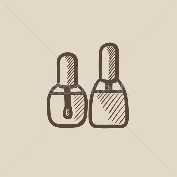 Bottles of nail polish sketch icon. Stock photo © RAStudio