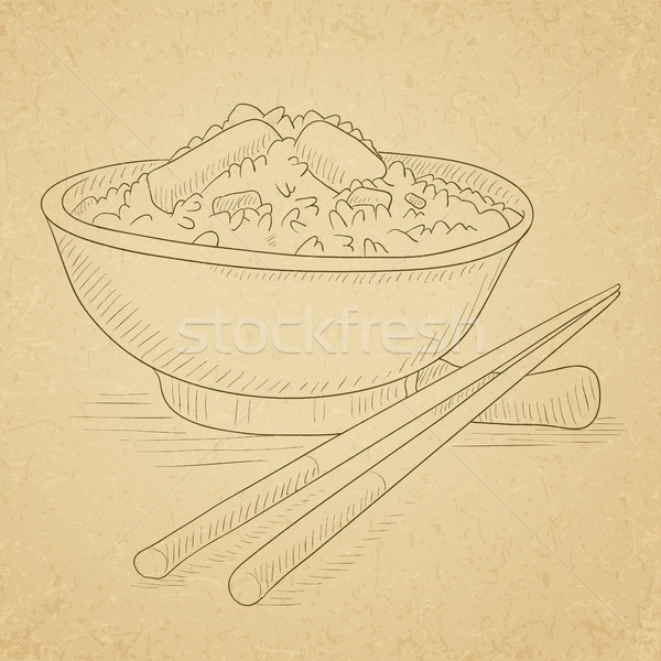Bowl of boiled rice with chopsticks. Stock photo © RAStudio