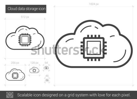 Nuvem armazenamento de dados linha ícone vetor isolado Foto stock © RAStudio