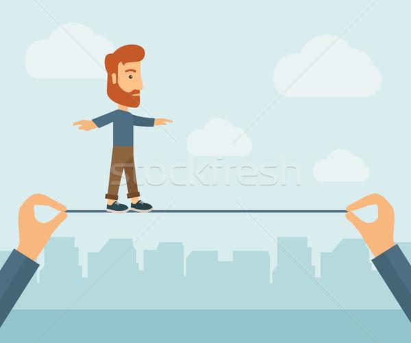 üzletember sétál drót kaukázusi nyújtott kettő Stock fotó © RAStudio
