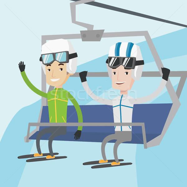 2 幸せ スキー リゾート 男性 座って ストックフォト © RAStudio