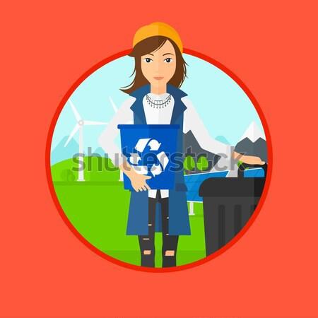 Frau Recycling Mülleimer halten Recycling Stock foto © RAStudio