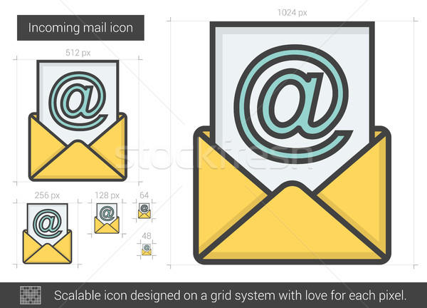 почты линия икона вектора изолированный белый Сток-фото © RAStudio
