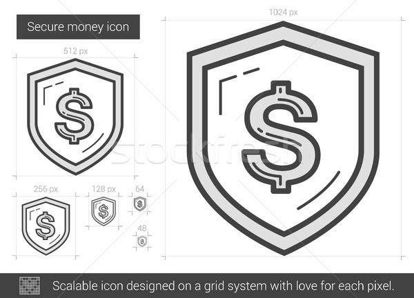 Biztonságos pénz vonal ikon vektor izolált Stock fotó © RAStudio