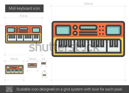 Midi keyboard line icon. Stock photo © RAStudio