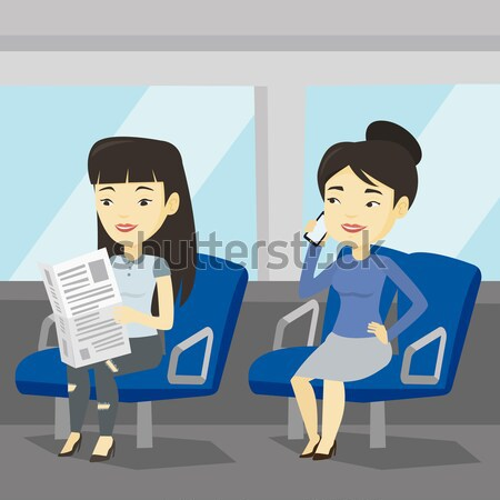 Mensen openbaar vervoer man mobiele telefoon kaukasisch Stockfoto © RAStudio