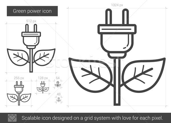 Green power line icon. Stock photo © RAStudio
