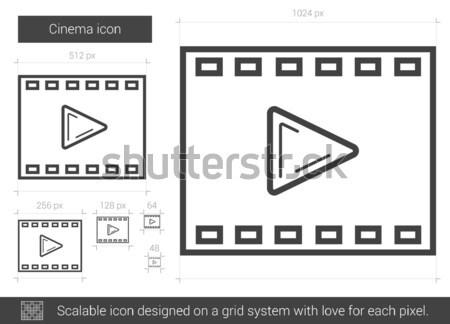 кино линия икона вектора изолированный белый Сток-фото © RAStudio