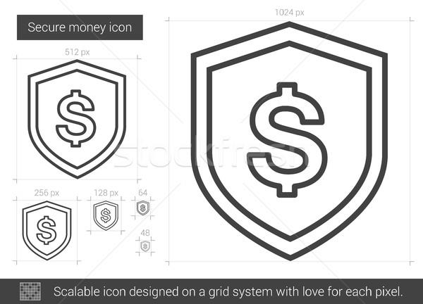 ストックフォト: 安全 · お金 · 行 · アイコン · ベクトル · 孤立した